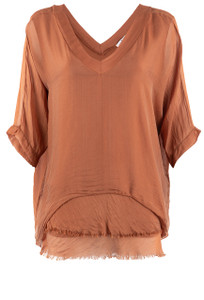 Gigi V-Neck 3/4 Sleeve Top - Rust Front