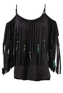 Pat Dahnke Fringe Feather Cold Shoulder Top - Front