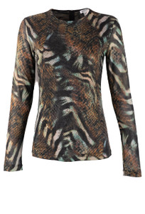 OOH LA LA Mesh Animal Print Top - Front