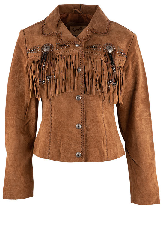 SCULLY WOMEN'S CINNAMON FAWN FRINGE SUEDE JACKET