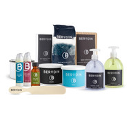 1  Berodin Black 14 oz tin •1 Berodin Aqua 14 oz tin •1 Berodin Blue 500gm bag •1 Empty Wax Tin •1 Large Spatula •1 Package Non-Woven Strips •1 Post Wax Soothing Cream •1 Clear-It Blemish Control •1 Post Wax Essential Oil •1 Lavendar Lotion •1 Jasmine Oil •1 Package Disposable Spatulas
