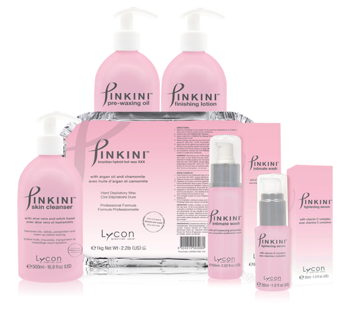 PINKINI Brazilian Care Kit is a BRAND NEW luxury collection from LYCON specially formulated for Brazilian and Bikini waxing.  The PINKINI Brazilian Hybrid Hot wax is a finely tuned blend between LYCON's legendary traditional hot wax and LYCOtec modern film wax formulas.  When teamed with the nurturing PINKINI Pre and Post waxing lotions, the wax provides a virtually painless professional waxing experience.  PINKIN Brazilian Hybrid Hot Wax removes hairs as short as 1mm.  Includes:  PINKINI Braziian Hybrid Hot Wax(2.2lbs) PINKINI Skin Cleanser (16.9oz) PINKINI Pre-Waxing Oil (16.9oz) PINKINI Finishing Lotion (16.9oz) PINKINI Intimate Wash (2oz) PINKINI Lightening Serum (1oz)