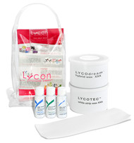 Lycon Sample Kit allows you to try before you buy full sizes.  Included in this kit is:  14oz Lycodream Hybrid Hot Wax 14oz LYCOtec White Strip Wax 20ml Lycotane Skin Cleanser 20ml Pre Waxing Oil 20ml Tea Tree Soothe 5 Epilace Strips