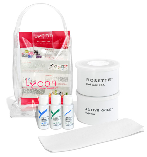 Lycon Sample Kit allows you to try before you buy full sizes.  Included in this kit is:  14oz Rosette Hot Wax 14oz Active Gold Strip Wax 20ml Lycotane Skin Cleanser 20ml Pre Waxing Oil 20ml Tea Tree Soothe 5 Epilace Strips