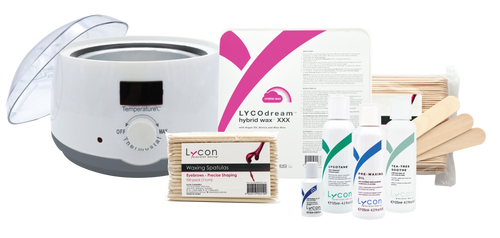 Kit Includes:  LycoPro Mini Professional Wax Heater Lycodream Hybrid Hot Wax 1.1lb Lycotane 4.2oz Pre Waxing Oil 4.2oz Tea Tree Soothe 4.2oz Ingrown-X-It .50oz Tongue Depressors 100pk Precision Spatulas 100pk