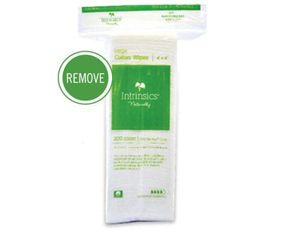"""4""""x4"""", 100% pure cotton  Facials are all about delivering results for your clients. For the best results, you will want to use the right products, including the application tools such as wipes. Intrinsics gentle COTTON WIPES are soft but gently abrasive and highly absorbent, making them ideal for cleansing and exfoliating the skin during facials or before waxing.  Benefits:  100% pure, medical-grade cotton Perfect for cleansing and exfoliating the skin during facials or before waxing Gently abrasive and absorbent; ideal for removing product from skin Biodegradable, Hypoallergenic, Made in U.S.A."""