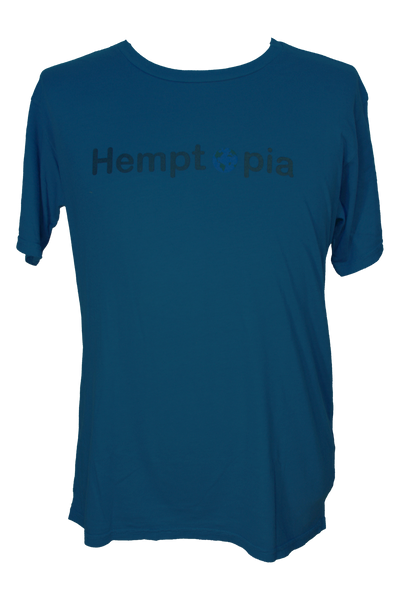 Hemptopia World Logo Hemp T-Shirt - Blue