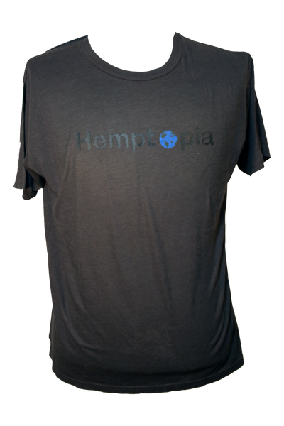 Hemptopia World Logo Hemp T-Shirt - Gun Metal
