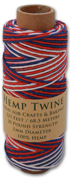 USA Red, White & Blue Hemp Twine Spool