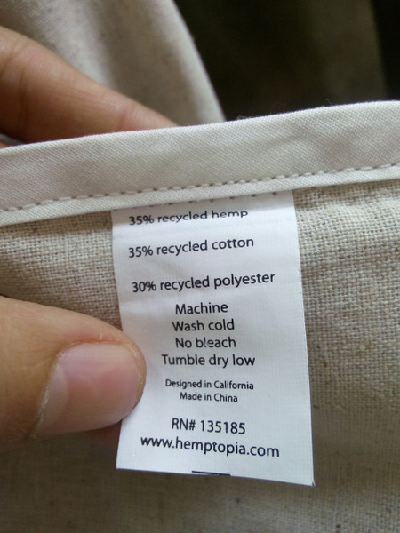 Hemp tote bag content label