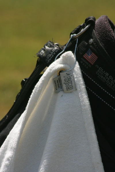 closeup of hemp golf towel