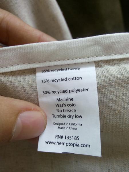 Hemp tote bag content label