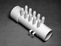 10396 Manifold PVC, Air,  WATERW, 1.5inS x 1.5inSpg x (10)3/8inSB, (4)Plgs
