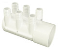 DSP10008 Manifold PVC, Water,  WATERW,  2in S x Dead x (6) 3/4in B ports