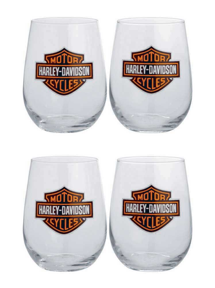Bar & Shield Logo Stemless Wine Glasses