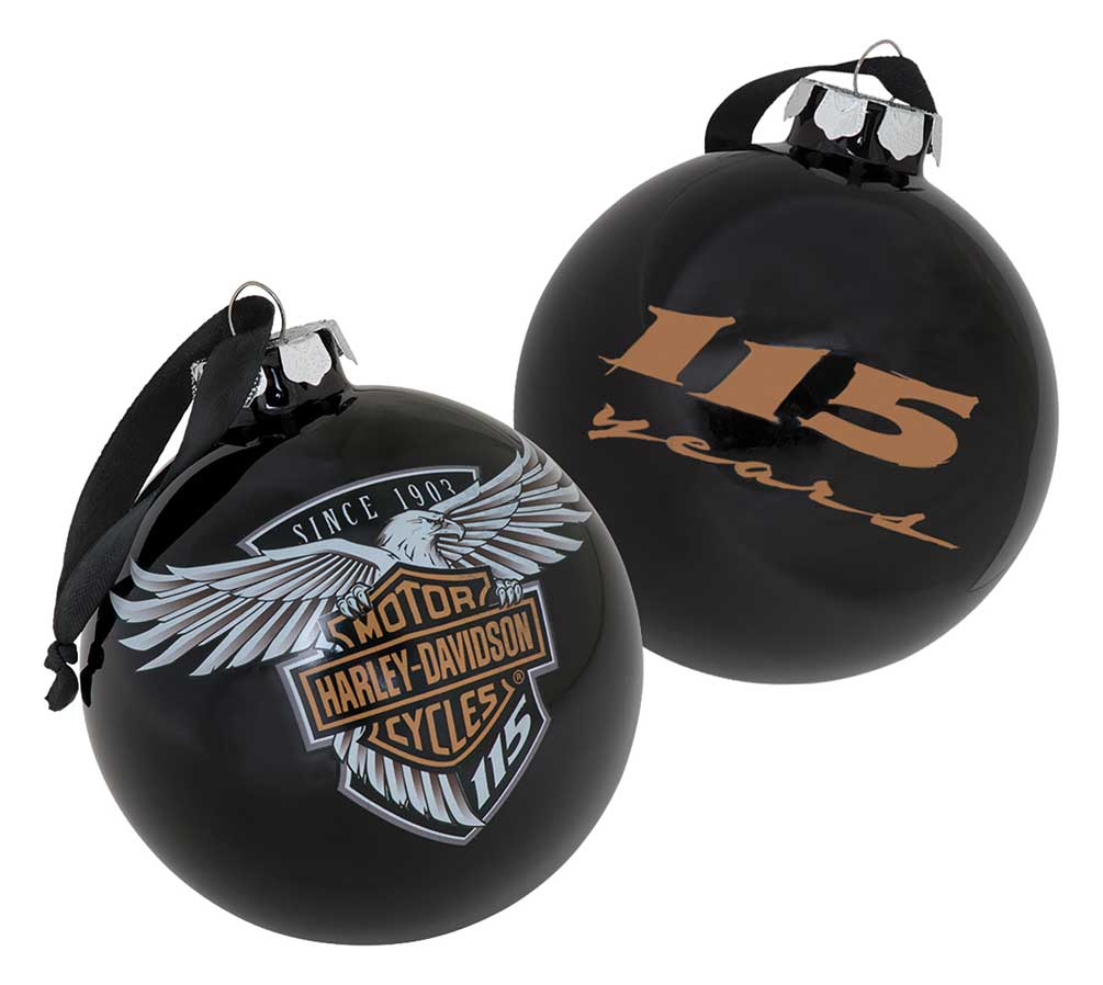 Harley-Davidson 115th Anniversary Limited Edition Glass Ball Ornament