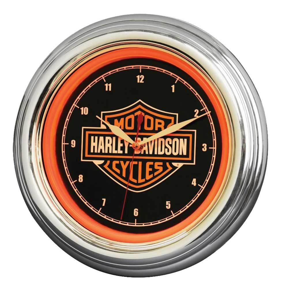Harley-Davidson® Bar & Shield LED Clock, Long Lasting Bright Orange, HDL-16633