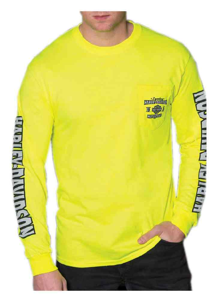 Harley-Davidson® Men's Motor Journey Long Sleeve Chest Pocket Shirt, Safety Green