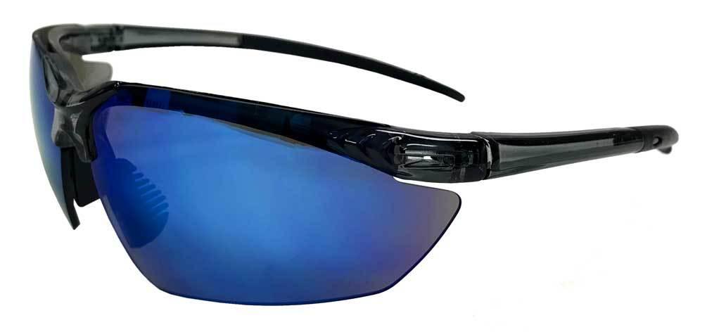 Redline Motorcycle Unisex Riding Sunglasses, Black Frame & Blue Lenses