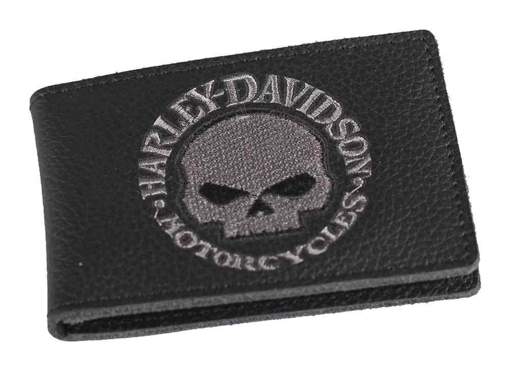 Harley-Davidson® Men's Embroidered Willie G Skull Duo-Fold Wallet, XML6136-GRYBLK