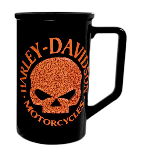 Harley-Davidson Beaded Orange Willie G. Skull Logo Coffee Mug Black HD-HDO-1397 - Wisconsin Harley-Davidson