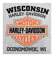 Harley-Davidson Men's Shirt, Bar & Shield Long Sleeve Tee, Gray 30296614 - Wisconsin Harley-Davidson