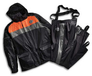 Harley-Davidson Men's High Tail Colorblocked Hi-Vis Rainsuit Blk/Org 98337-15VM - Wisconsin Harley-Davidson