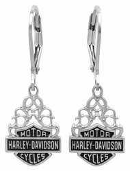Harley-Davidson Women's Bar & Shield Dangle Earrings Silver Filigree HDE0258 - Wisconsin Harley-Davidson