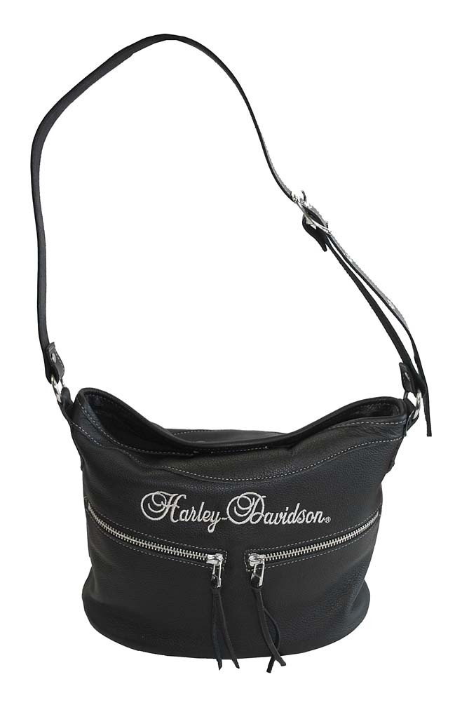 84ac9bf38736 Harley-Davidson® Women's Embroidered Double Zip Shoulder Bag Black Leather  HD618