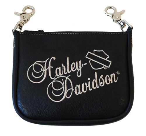 Harley-Davidson Embroidered H-D Script Clip Hip Bag Black Leather HD606 - Wisconsin Harley-Davidson