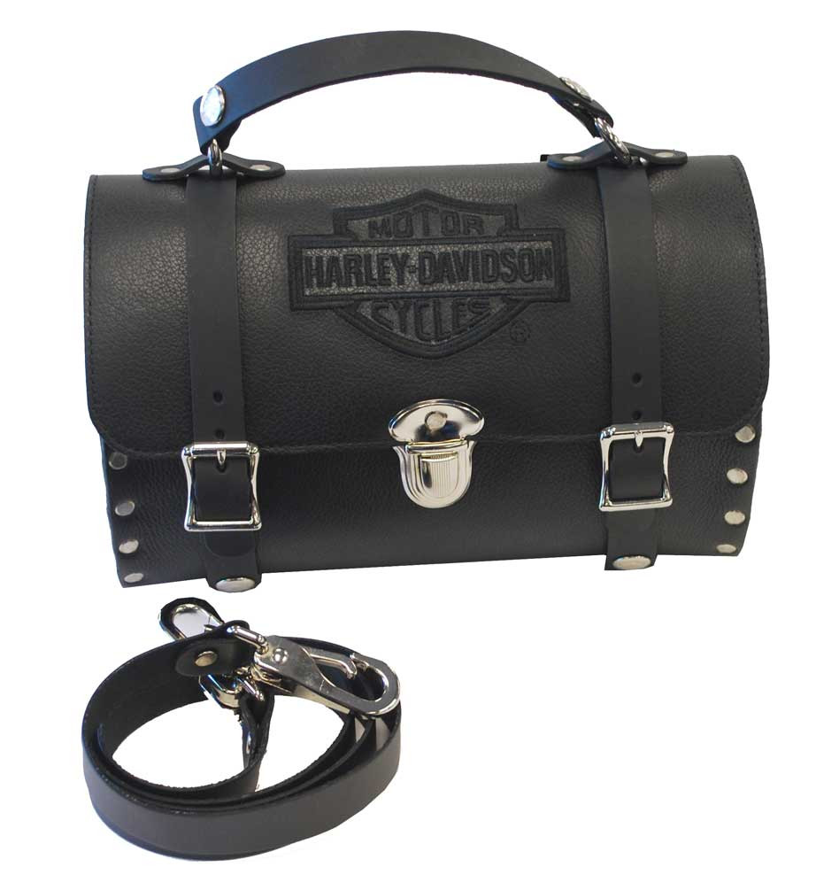 726d720ef89f Harley-Davidson® Womens Embroidered Bar & Shield Barrel Studded Shoulder  Bag HD36