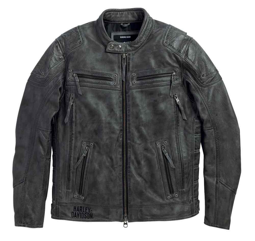 Harley Davidson® Men's Carboy Leather Jacket Multi Pocket, Charcoal 97105 16VM