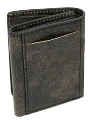Harley-Davidson Men's Burnished Tri-Fold Skull Wallet Leather BM2647L-TanBlk - Wisconsin Harley-Davidson