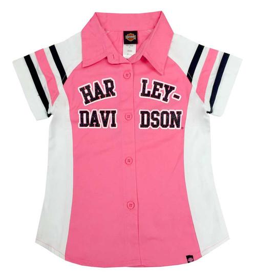 Harley-Davidson Big Girls' Glittery Short Sleeve Shop Shirt, Pink 1040571 - Wisconsin Harley-Davidson