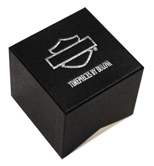 Harley-Davidson  Women's Bulova Black Crystal Skull Wrist Watch 78L116 - Wisconsin Harley-Davidson