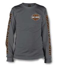 Harley-Davidson Men's Long Sleeve Orange Bar & Shield Grey Shirt 30291963 - Wisconsin Harley-Davidson