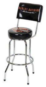 Harley-Davidson Bar & Shield Bar Stool With Back Rest HDL-12204 - Wisconsin Harley-Davidson
