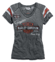 Harley-Davidson Womens V-neck Genuine Oil Can Burnout Tee Grey Black 99196-14VW - Wisconsin Harley-Davidson