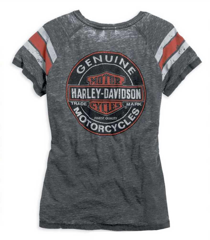 Black Womens Oil Harley Burnout Can 14vw Neck Tee Davidson® Genuine 99196 V Grey TlKJuF13c