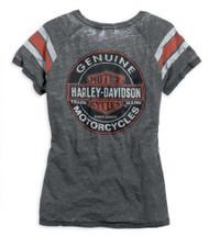 ad490cff Harley-Davidson® Womens V-neck Genuine Oil Can Burnout Tee Grey Black 99196