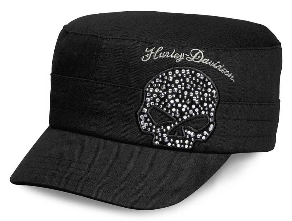 6b4633f7ff Harley-Davidson Women's Crystal Willie G Skull Flat Top Cap, Black  99556-16VW