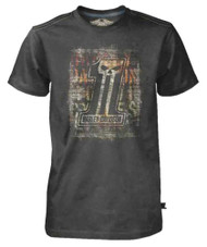 Harley-Davidson Men's Black Label T-Shirt, Distressed Brick Wall #1 Skull, Black - Wisconsin Harley-Davidson