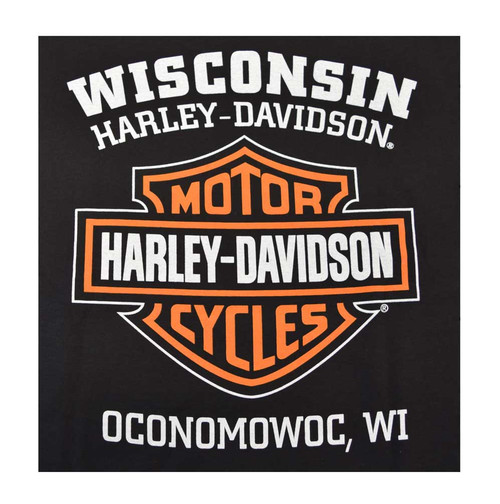 Harley-Davidson Men's Orange Bar & Shield Black T-Shirt 30290591 - Wisconsin Harley-Davidson