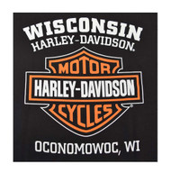 Harley-Davidson Men's Orange Bar & Shield Black T-Shirt 30290591 - Wisconsin Harley-Davidson
