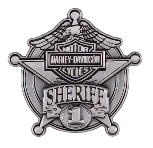 Harley-Davidson Sheriff Antique Nickel Pin, 1-9/16'' W x 1-1/2'' H P1264064 - Wisconsin Harley-Davidson