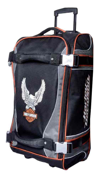 Harley-Davidson 25 Inch Luggage, Up-Wing Eagle Bar & Shield Silver/Black 99325 - Wisconsin Harley-Davidson