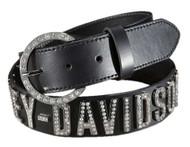 Harley-Davidson Women's Belt, Crystal H-D Font, Black Leather HDWBT10627 - Wisconsin Harley-Davidson