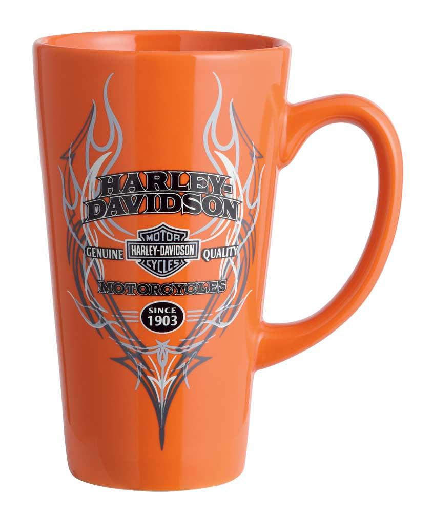 b8689b2ae08 Harley-Davidson Pinstripe Flames Ceramic Latte Mug, 16 oz. Orange 99209-16V