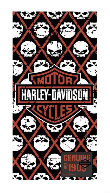 Harley-Davidson Beach Towel, Bar & Shield/Repeated Willie G Skull, 30x60in 12370 - Wisconsin Harley-Davidson