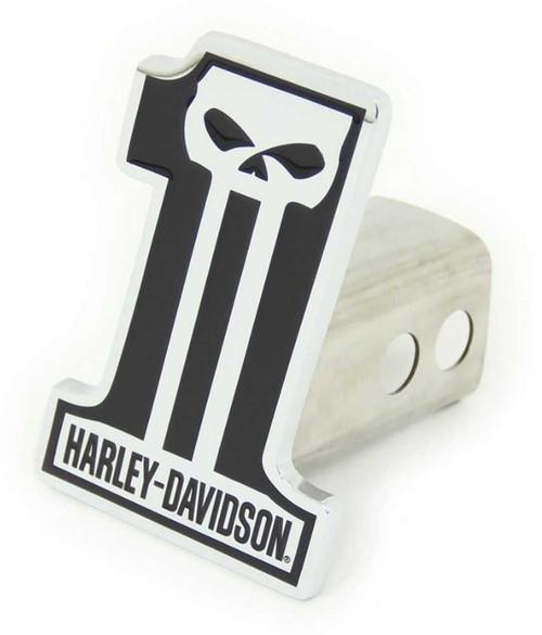 Harley-Davidson #1 Skull Trailer Hitch Plug 2'' Stainless Steel HDHC216 - Wisconsin Harley-Davidson